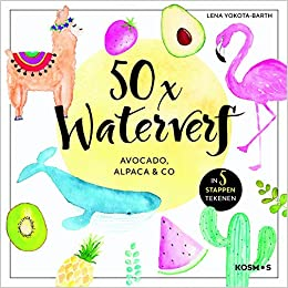 50x waterverf: Avocado, Alpaca en co by Lena Yokota-Barth