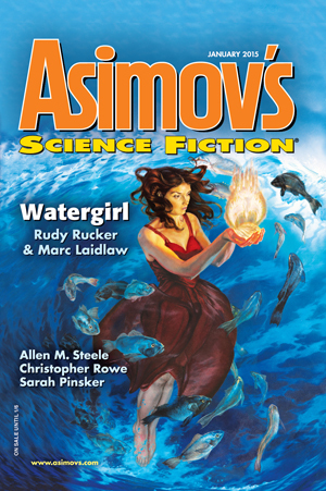Asimov's Science Fiction, January 2015 by Paul Di Filippo, Trent Walters, Caroline M. Yoachim, Sarah Pinsker, Erwin S. Strauss, Robert Silverberg, Christopher Rowe, Sheila Williams, Robert Borski, Marc Laidlaw, James Patrick Kelly, Allen M. Steele, Peter Wood, Jay O'Connell, Rudy Rucker