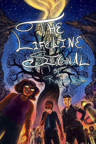 The cover of The Lifeline Signal by RoAnna Sylver. An illustration of several people standing in front of a tall, leafless tree under a dark blue starry sky. In front stand a chubby dark skinned person with glasses and short, curly black hair, a skinny dark skinned person with sleek wavy black hair holding playing up playing cards, and a white person with black hair that's shaved at the sides.