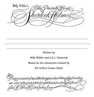 Billy Wilder's The Private Life of Sherlock Holmes - Original Roadshow Script by Billy Wilder, I.A.L. Diamond